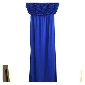 Blue strapless maxi dress